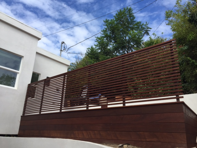 Decorative Wooden Fence on Wooden Deck